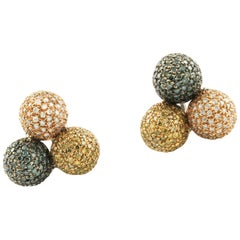 Fancy Diamond Rose Gold Spheres Earrings