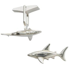 Shark Cufflinks in Solid Sterling Silver.