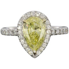 2.02 Carat Fancy Intense Yellow Pear Diamond Halo Engagement Ring