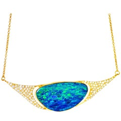 Lauren Harper Boulder Opal, .85 Carat Diamonds, 18 Karat Gold Necklace