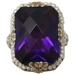 10.3 Carat Amethyst Seed Pearl Gold Filigree Ring