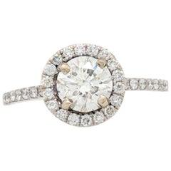 1.01 Carat Round Brilliant Natural Diamond Halo Ring EGL Certified SI2/I