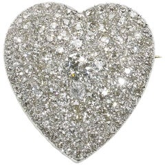 Diamond Heart Pendant Brooch
