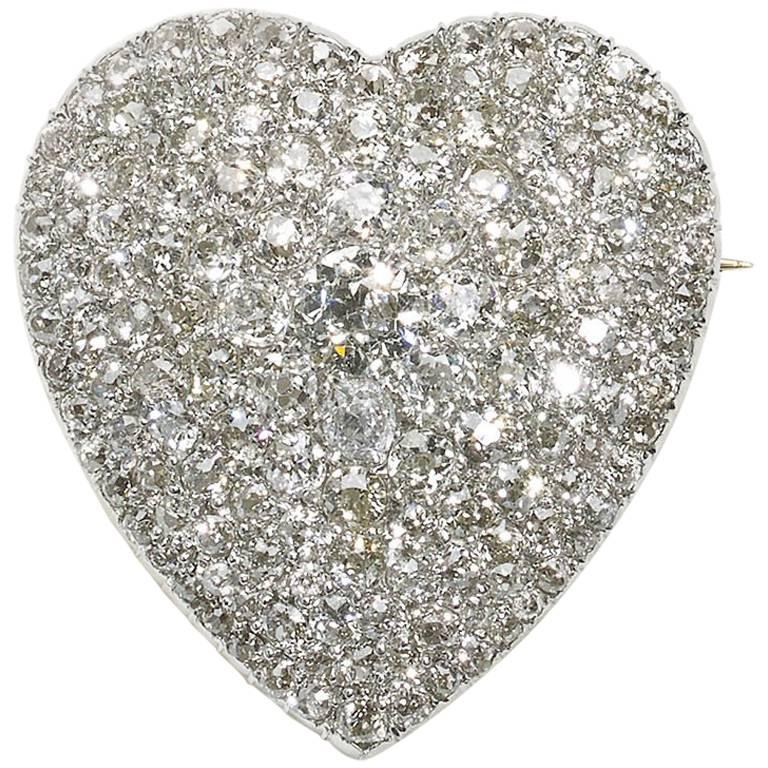 Diamond Heart Pendant Brooch For Sale