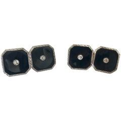 Art Deco Onyx and Diamond Platinum and 18 Karat Gold Cufflinks