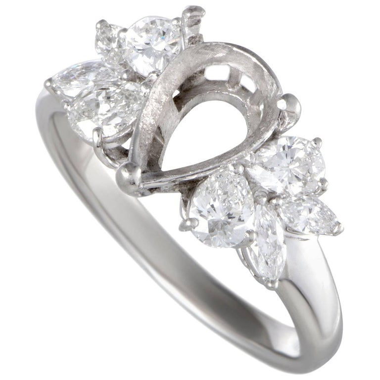 Diamond Platinum Pear Shape Engagement Ring Mounting