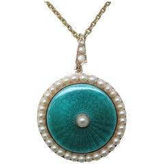 Edwardian Pearl Enamel Gold Necklace
