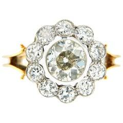 Retro Diamond Gold Cluster Ring