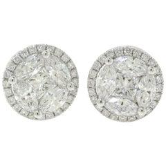 1.93 Carat Princess Cut and Round Diamond Halo 18 Karat White Gold Studs