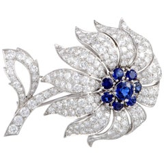 Tiffany & Co. Full Diamond and Sapphire Pave Flower Platinum Brooch