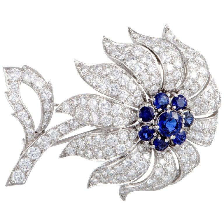 Tiffany & Co. Full Diamond and Sapphire Pave Flower Platinum Brooch