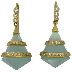 Lauren Harper Chalcedony Diamonds 18 Karat Yellow Gold Earrings