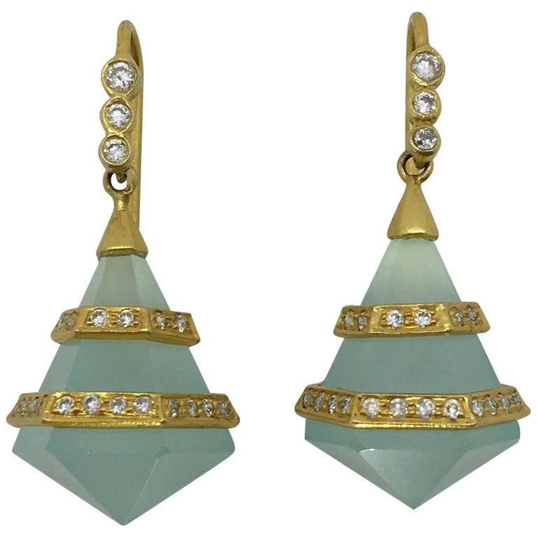 Lauren Harper Chalcedony Diamonds 18 Karat Yellow Gold Earrings
