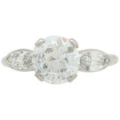 1.38 Carat Natural Round European Cut Platinum Diamond Estate Ring SI2/E