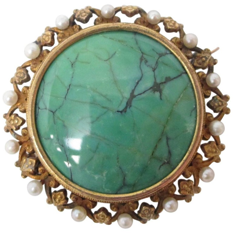 Victorian Natural Pearl Turquoise Gold Pin Pendant Watch Holder