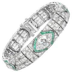 Platinum, Diamond and Emerald Art Deco Bracelet