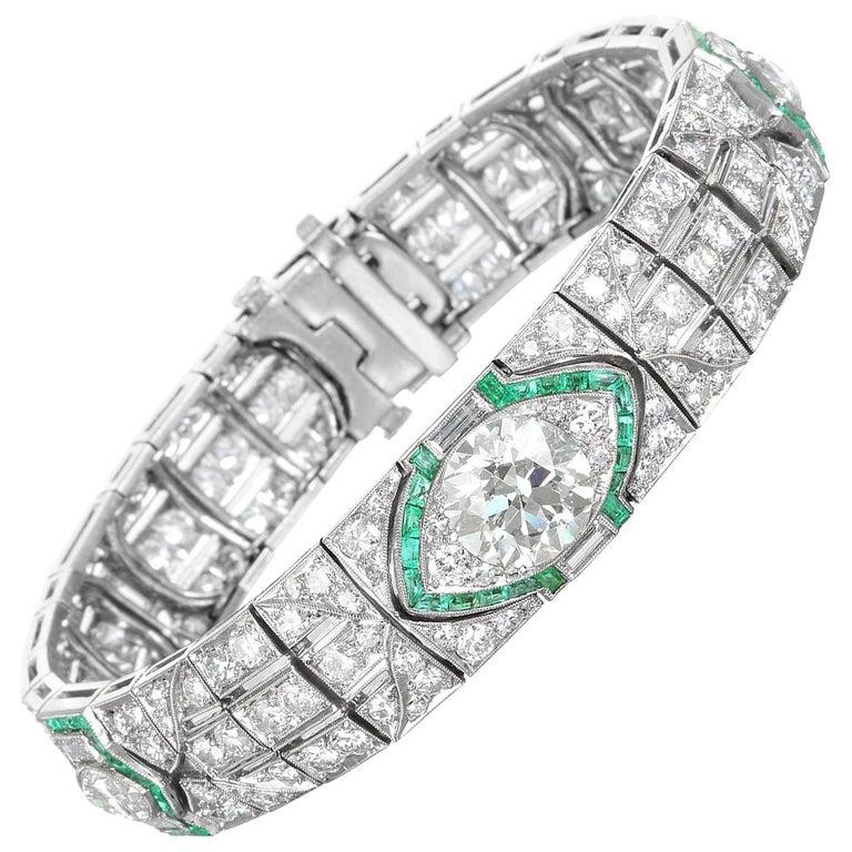 Platinum, Diamond and Emerald Art Deco Bracelet