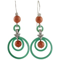 Green Agate, Red Coral Sphetres, Diamonds, 14K White Gold Earrings