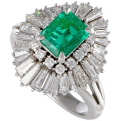 Emerald and Diamond Platinum Cocktail Ring