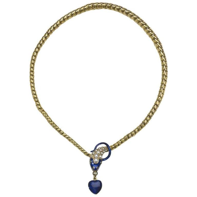 Antique Blue Enamel Snake Necklace