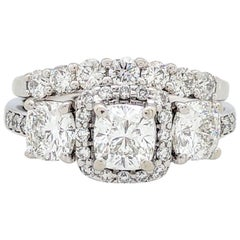 14K White Gold 3-Stone Cushion Cut 2.62ctw Diamond Halo Wedding Set IGI Cert.