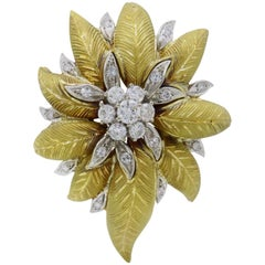 18 Karat Gold Vintage Floral Diamond Brooch