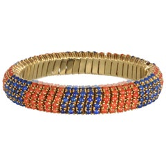 Vintage 18k Gold Flexible Coral and Lapis Bracelet
