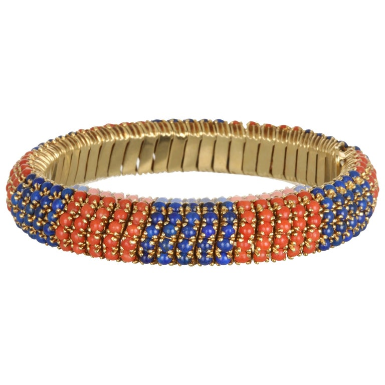 Flexible Gold Coral and Lapis Bracelet