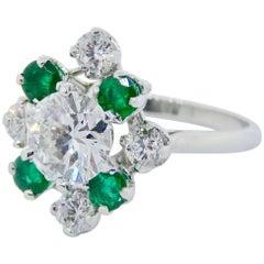 """Platinum Diamond and Emerald Estate """"Mellerio"""" Ring"""