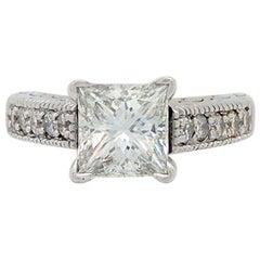 14 Karat White Gold 1.85 Carat Princess Cut Diamond Engagement Ring VS2/H
