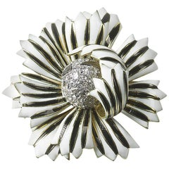 David Webb Enamel Flower Brooch