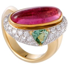 Tourmaline and Pave Diamond Gold Cocktail Ring