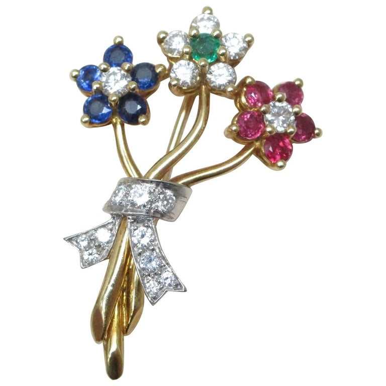 Diamond Ruby Sapphire Emerald Gold Brooch
