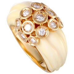 Van Cleef & Arpels White Coral and Diamond Yellow Gold Band Ring