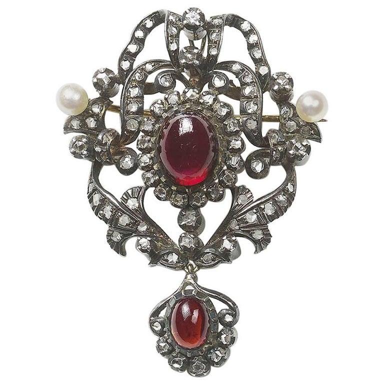 Garnet Diamond and Pearl Pendant