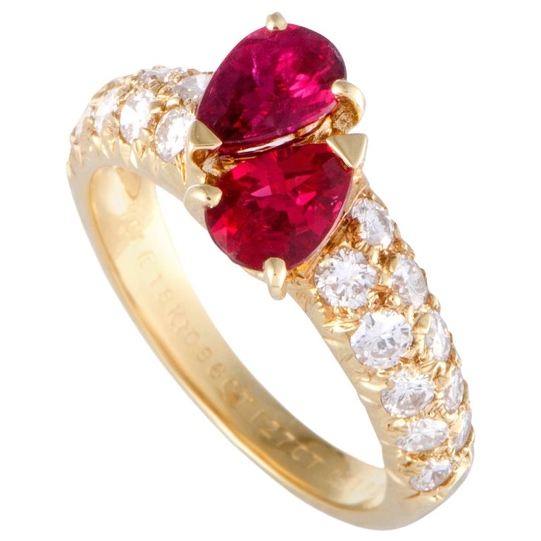 Van Cleef & Arpels Marquise Ruby and Diamond Yellow Gold Ring