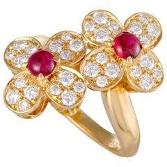 Van Cleef & Arpels Trefle Ruby and Diamond Yellow Gold Flower Ring