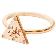 Spinning 18 Karat Rose Gold and Diamond Triangular Axle Ring