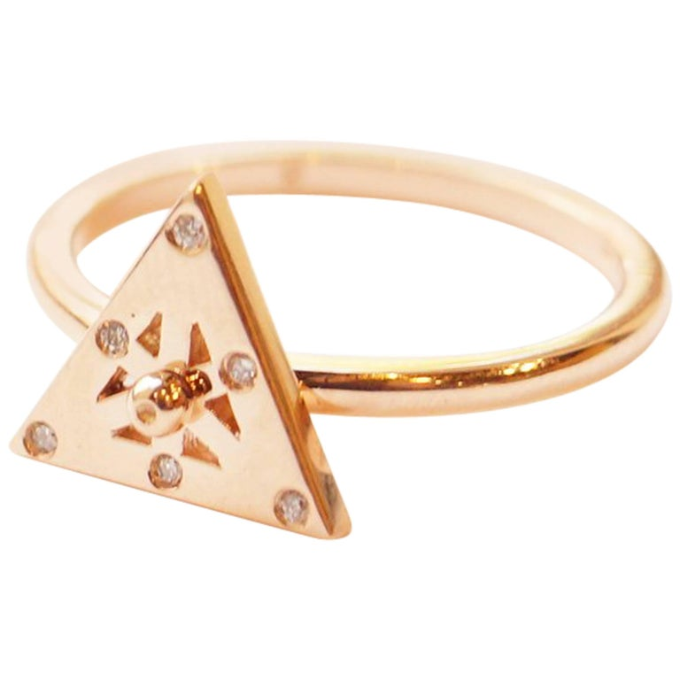 Spinning 18 Karat Rose Gold and Diamond Triangular Axle Ring