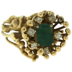 Rectangular Emerald and Diamond 18 Karat Yellow Gold Spike Ring