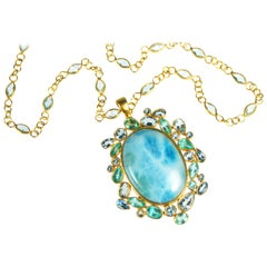Lauren Harper Larimar Aquamarine Apatite 18 Karat Gold Gemstone Necklace