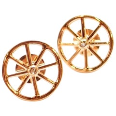 Spinning 18 Karat Rose Gold and Diamond Wheel Stud Earrings