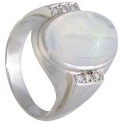 Opal Diamond Platinum Cocktail Ring