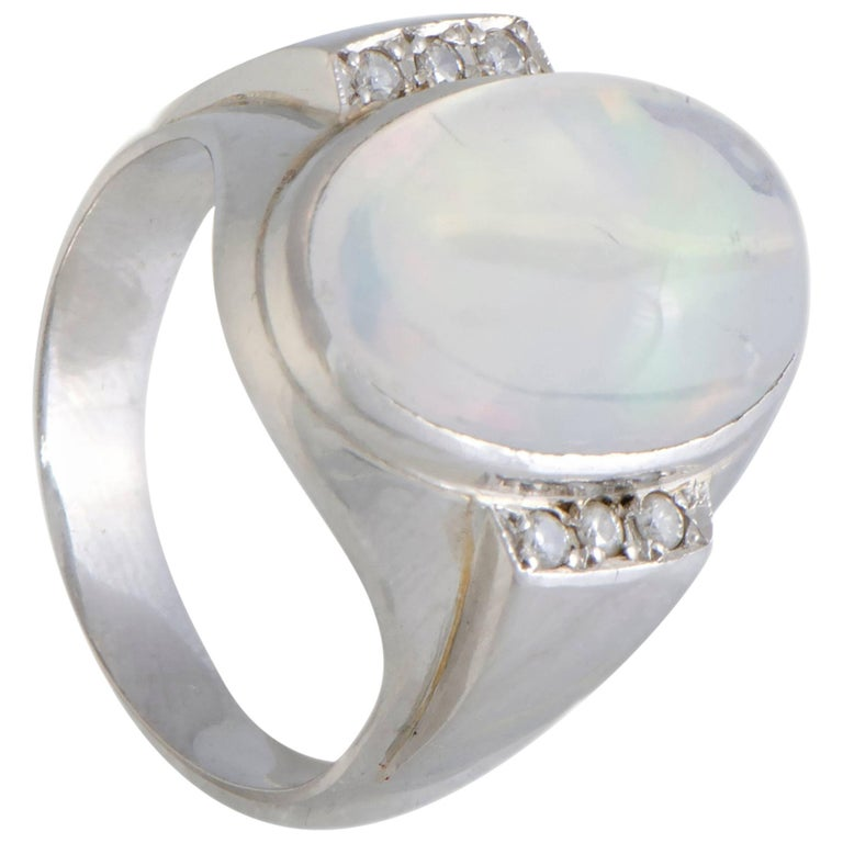 Opal Diamond Platinum Cocktail Ring