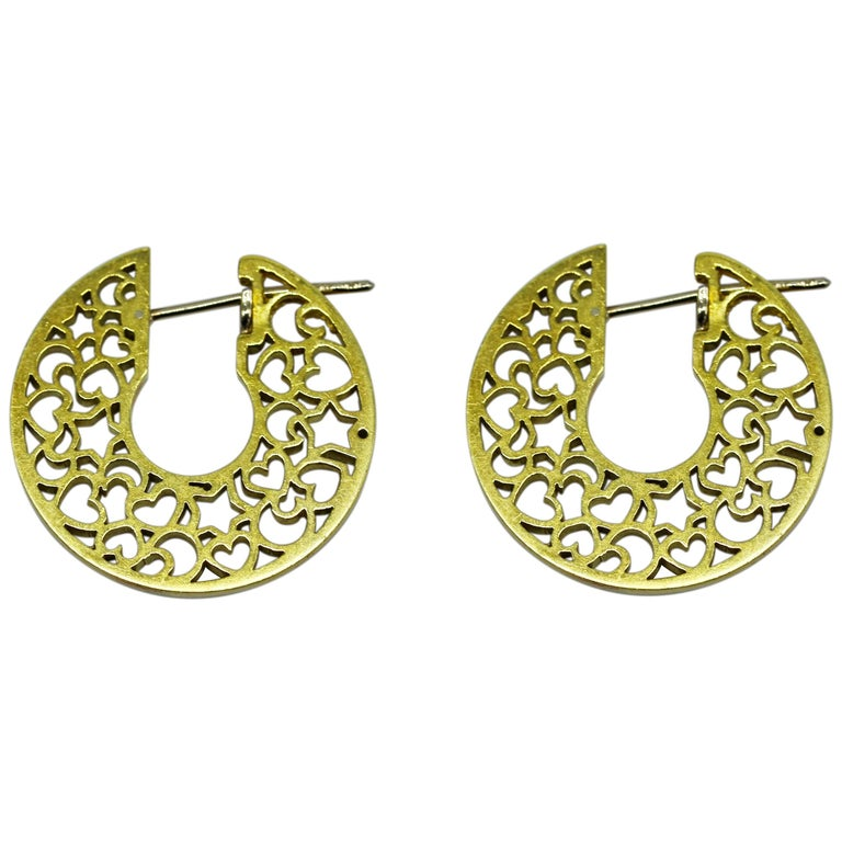 Pasquale Bruni Yellow Gold Heart and Moon Hoop Earrings