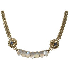 Montana Sapphire Moonstone Gold Necklace