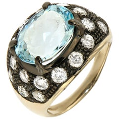 Aquamarine Ice Diamonds 18 Karat White Gold Cocktail Ring Modern