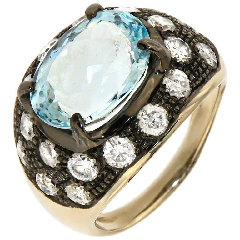 Aquamarine Ice Diamonds 18 Karat White Gold Cocktail Ring Modern