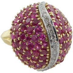Tiffany & Co. Ruby and Diamond Dome Ring, circa 1940s