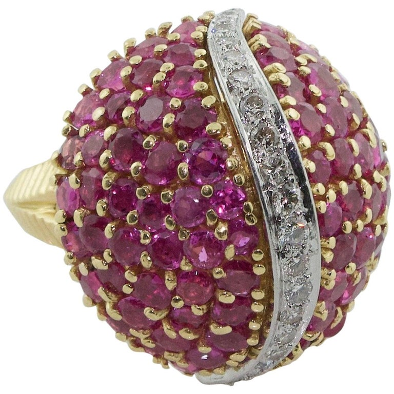 Tiffany & Co. Ruby and Diamond Dome Ring, circa 1940s For Sale